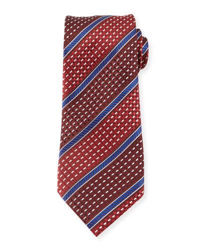 Stitched Stripe Silk Tie, Red
