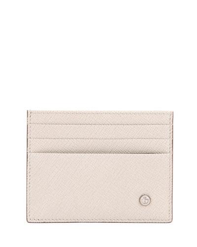 Calf Leather Card Case, Beige