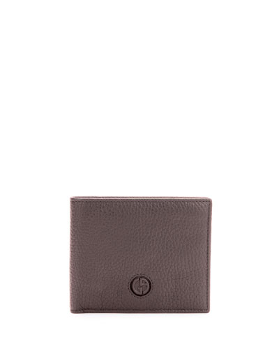 Giorgio Armani Pebbled Leather Bi - fold Wallet, Brown
