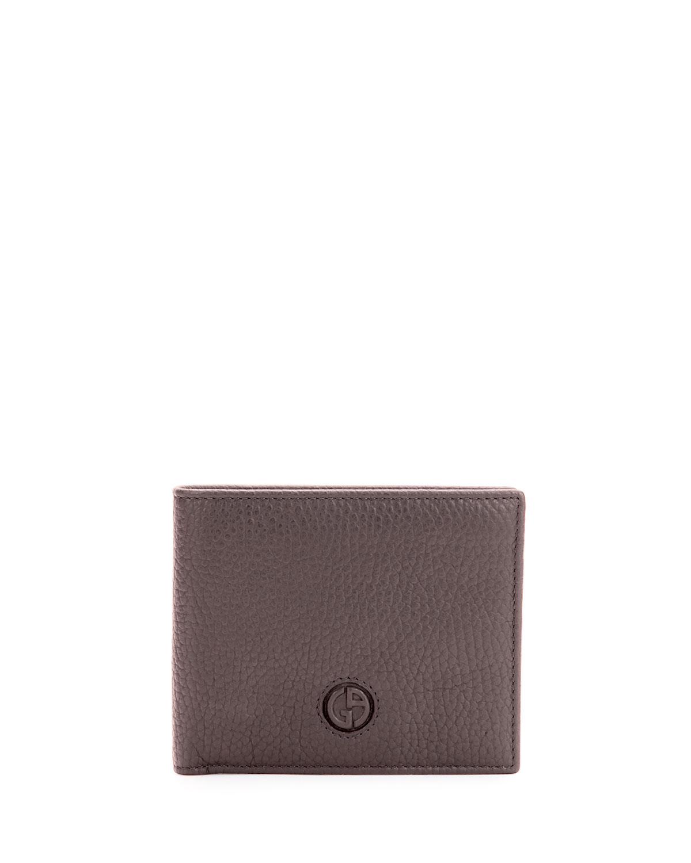 Giorgio Armani Pebbled Leather Bi - fold Wallet, Brown