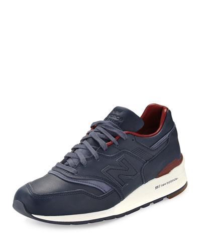 997 Bespoke Leather Sneaker, Blue/Brown