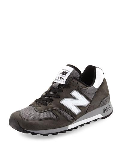 1300 Heritage Men's Suede/Mesh Sneaker, Black/Gray