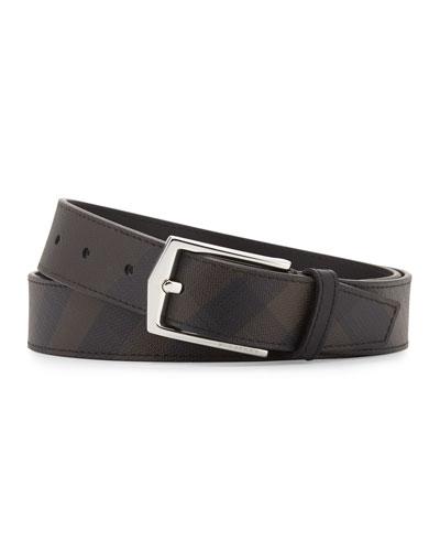 Henry Men's Smoke Check Belt, Chocolate/Black