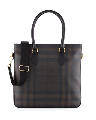 Kenneth Men's Check Tote Bag, Chocolate/Black