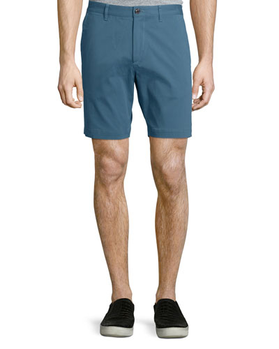 Zaine S Witten Flat-Front Shorts, Turquoise