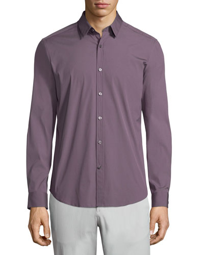 Zack PS Solid Long-Sleeve Sport Shirt, Wine