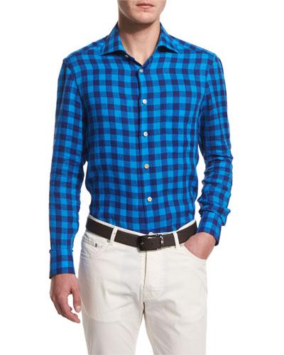 Buffalo Check Long-Sleeve Sport Shirt, Blue