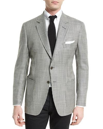 O'Connor Base Houndstooth Silk-Blend Sport Jacket, Black/White