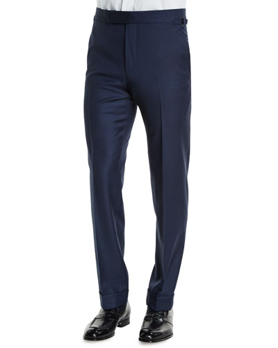 O'Connor Base Classic Sharkskin Trousers, Navy