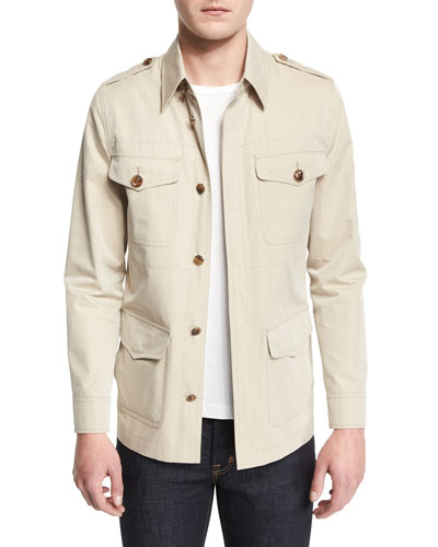 Lightweight Vintage Wash Safari Jacket, Tan