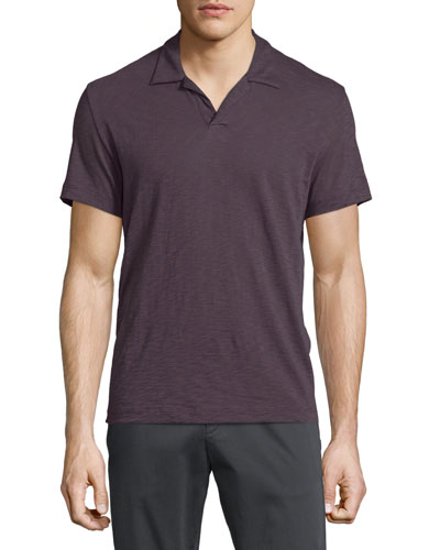 Willem Johnny-Collar Short-Sleeve Polo Shirt, Deep Rouge