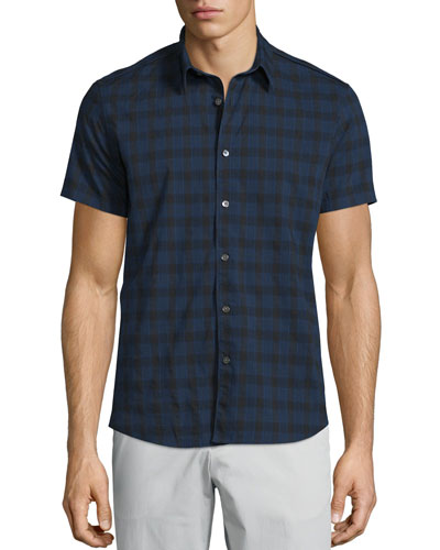 Benner Check Short-Sleeve Woven Shirt, Eclipse Multi
