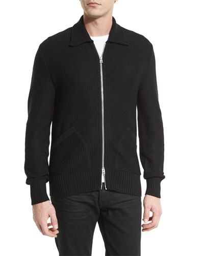Tuck-Stitch Zip-Up Wool Jacket, Black