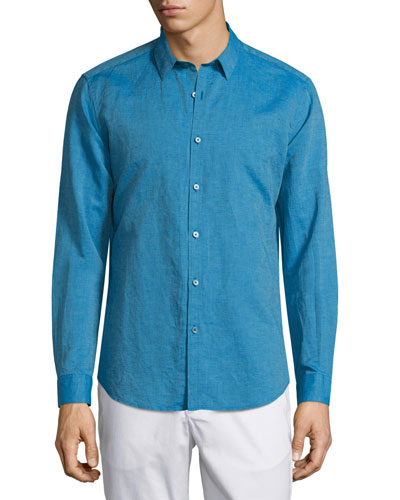Zack PS Long-Sleeve Linen-Blend Shirt, Dark Spray