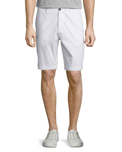 Brucer Flat-Front Stretch Shorts, White