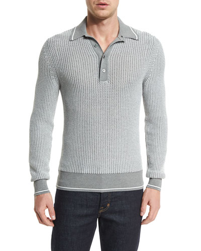 Textured Long-Sleeve Polo Shirt, Gray