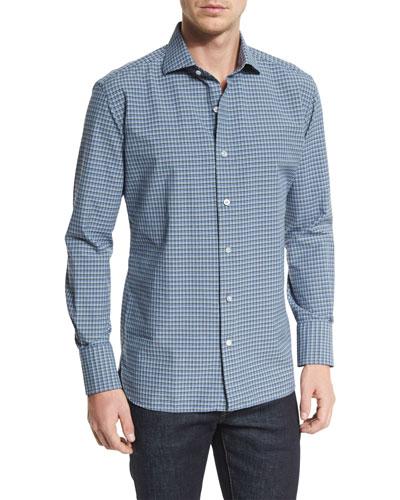 Mini-Check Poplin Sport Shirt, Blue/White