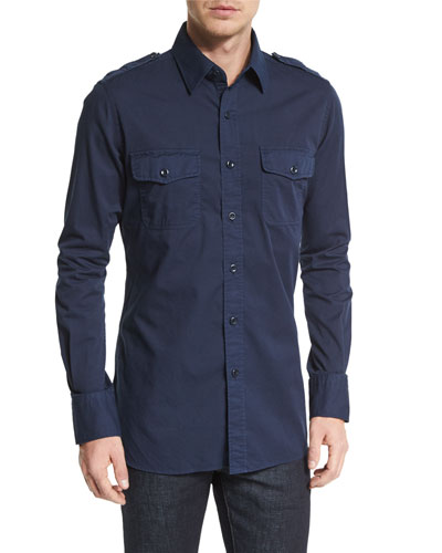 Military-Style Washed Twill Sport Shirt, Navy