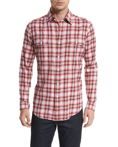 Large Plaid Tailored-Fit Sport Shirt, Red/White