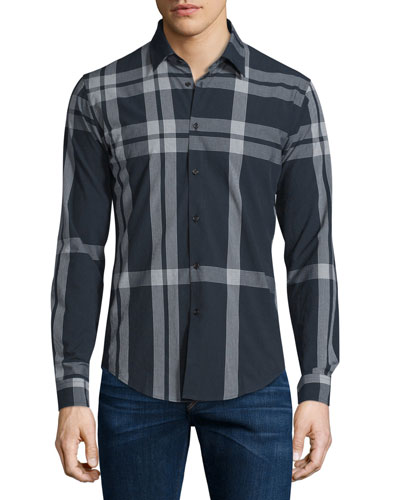 Slim-Fit Check Sport Shirt, Navy