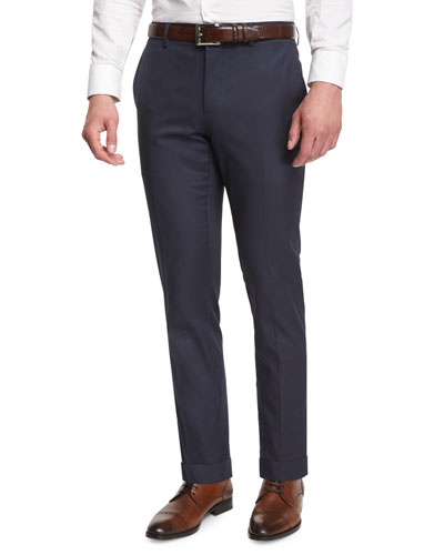 Modern-Fit Flat-Front Trousers, Bright Steel Blue