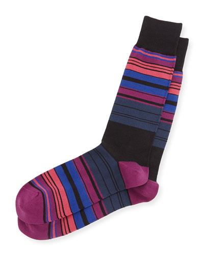 Tri-Line Striped Socks, Black