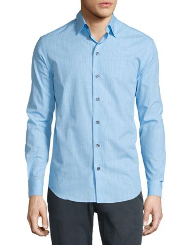 Long-Sleeve Solid Gingham Dress Shirt, Light Blue