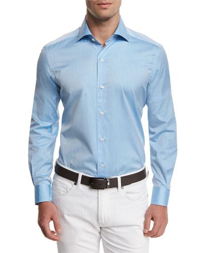 Summer Chambray Long-Sleeve Sport Shirt, Light Blue