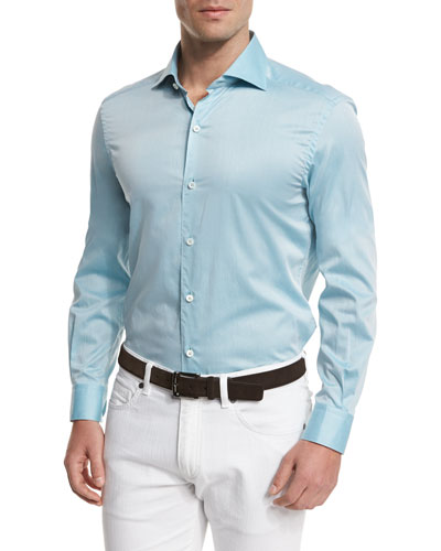 Summer Chambray Long-Sleeve Sport Shirt, Teal