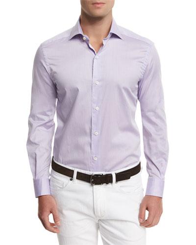 Summer Chambray Long-Sleeve Sport Shirt, Purple
