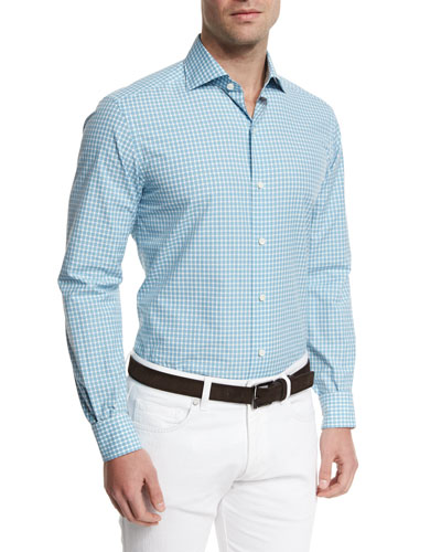 Deco Check Long-Sleeve Sport Shirt, Teal
