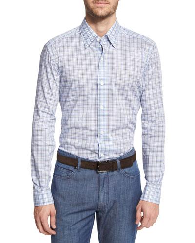 Multi-Check Long-Sleeve Sport Shirt, Blue