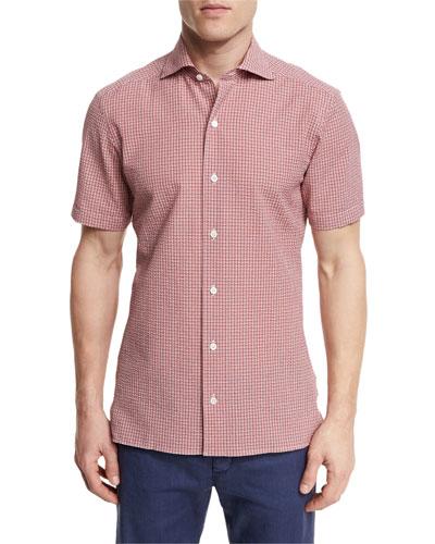 Seersucker-Check Short-Sleeve Shirt, Red