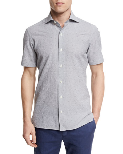 Seersucker Short-Sleeve Shirt, Medium Gray
