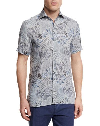 Leaf-Print Short-Sleeve Shirt, Gray