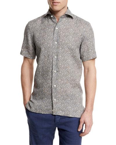 Floral-Print Short-Sleeve Linen Shirt, Oatmeal