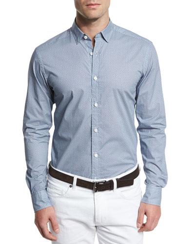 Geo-Print Long-Sleeve Sport Shirt, Teal