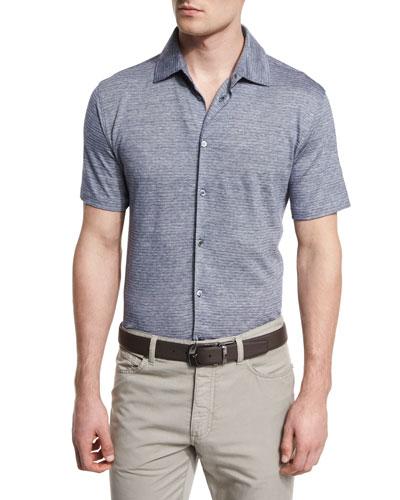 Striped Short-Sleeve Shirt, Navy