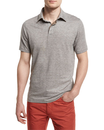 Melange Striped Short-Sleeve Polo Shirt, Flax