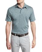 Melange Striped Short-Sleeve Polo Shirt, Green