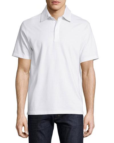Short-Sleeve Knit Pique Polo Shirt, White