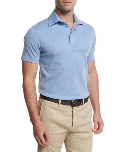 Short-Sleeve Pique Polo Shirt, Light Blue