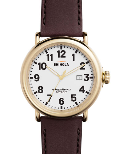 47mm Runwell Leather Watch, Oxblood