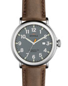 47mm Runwell Leather Watch, Deep Brown