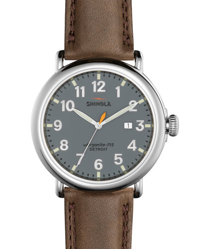 Men's 47mm Runwell Leather Watch, Deep Brown