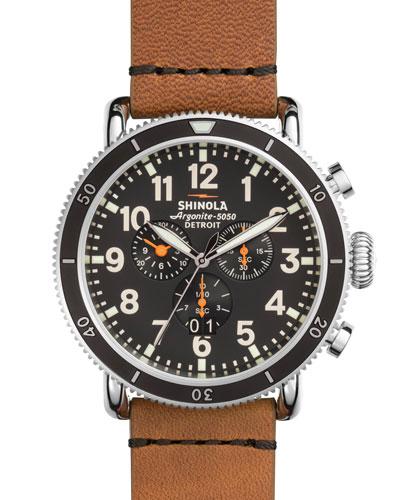 Men's 48mm Runwell Sport Chronograph Watch, Tan