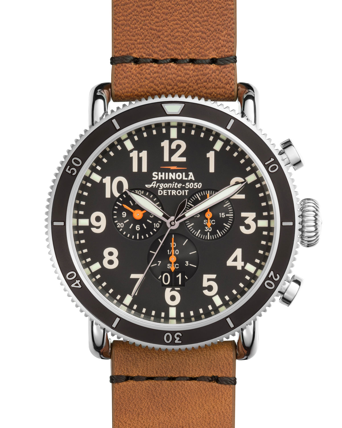 48mm Runwell Sport Chronograph Watch, Tan
