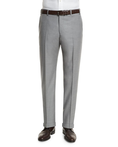 Parker Flat-Front Wool Trousers, Light Gray