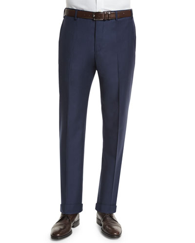 Parker Serge Super 150s Trousers, Navy