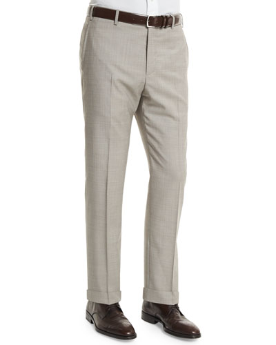 Parker Flat-Front End-On-End Trousers, Light Beige